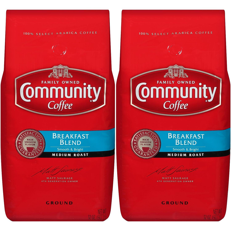 Community Coffee and Chicory Medium Dark Roast Premium Ground 32 Oz Bag (2 Pack), Full Body Rich Flavorful Taste, 100% Select Arabica Beans Community Coffee Company