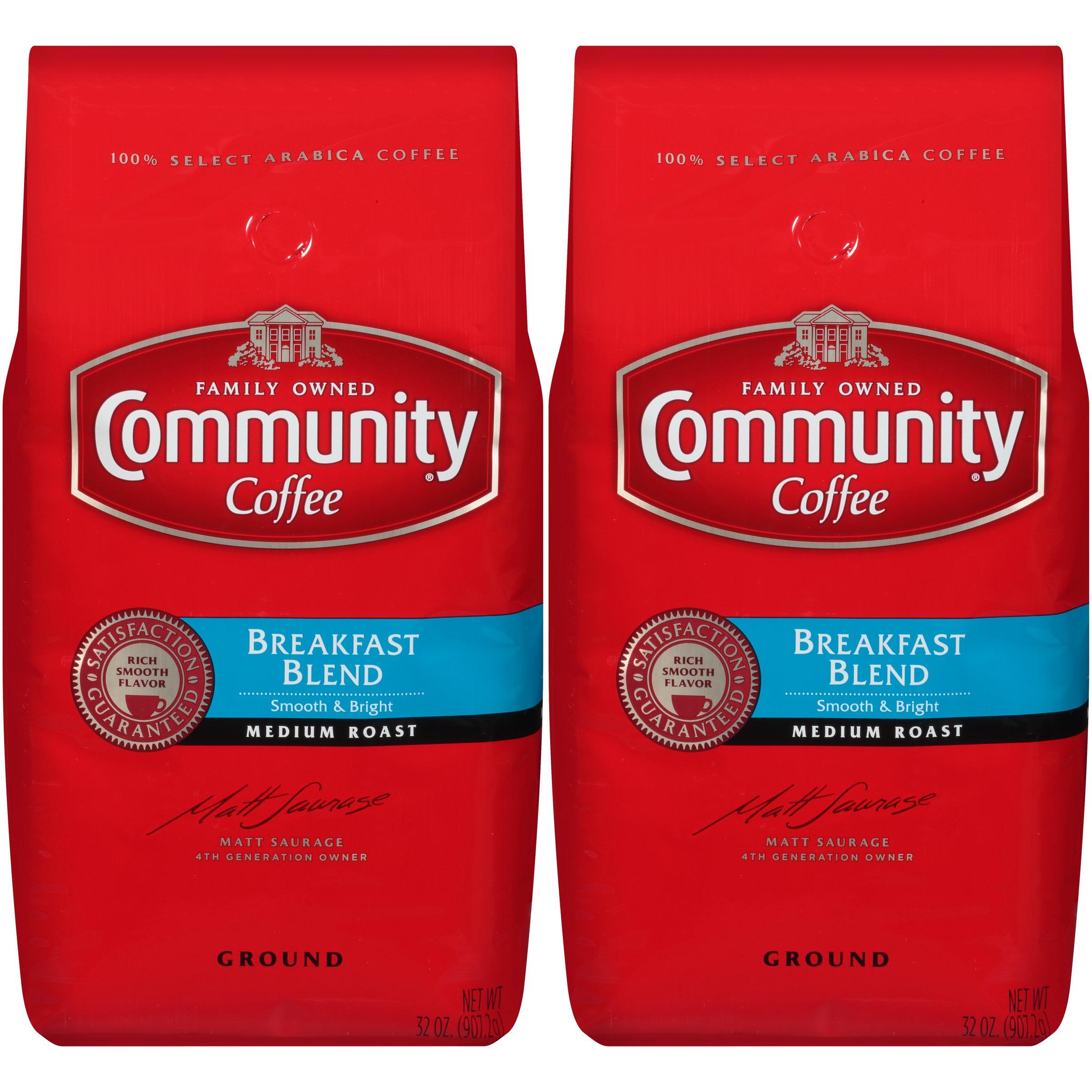 Community Coffee Premium Ground Coffee, Breakfast Blend, Medium Roast, 32 oz, (Pack of 2)