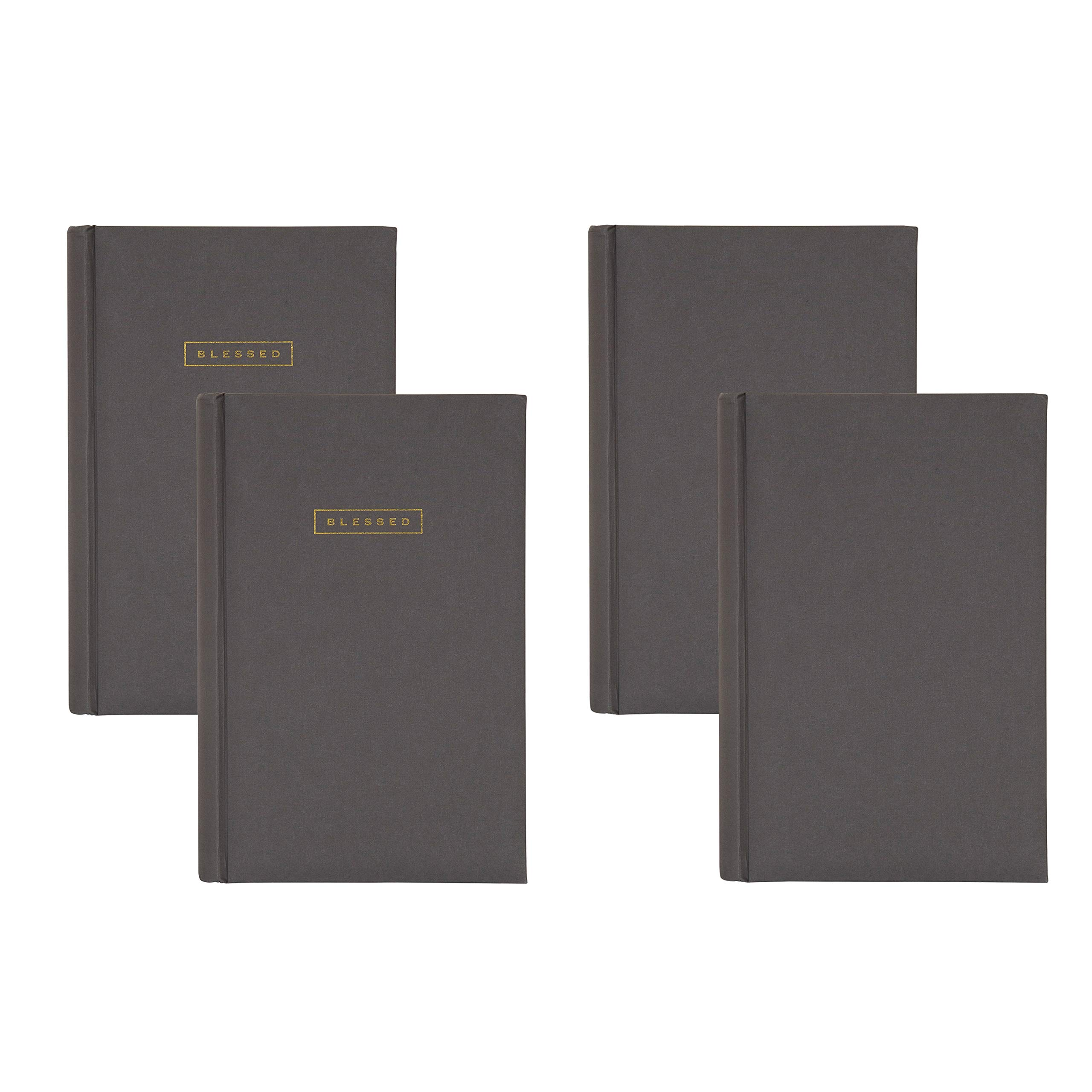 DesignOvation Fabric Deluxe Photo Album with 2 Blank and 2 Front Cover Sentiment Blessed in Gold Block Letters, Holds 300 4x6 Photos, Gray, Set of 4 by DesignOvation