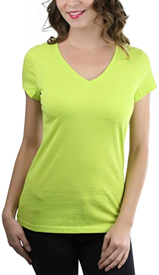 3790e8cd2312 Sofra Women's Fitted S.S. V-Neck Solid Print T-Shirt - Lime Green ...