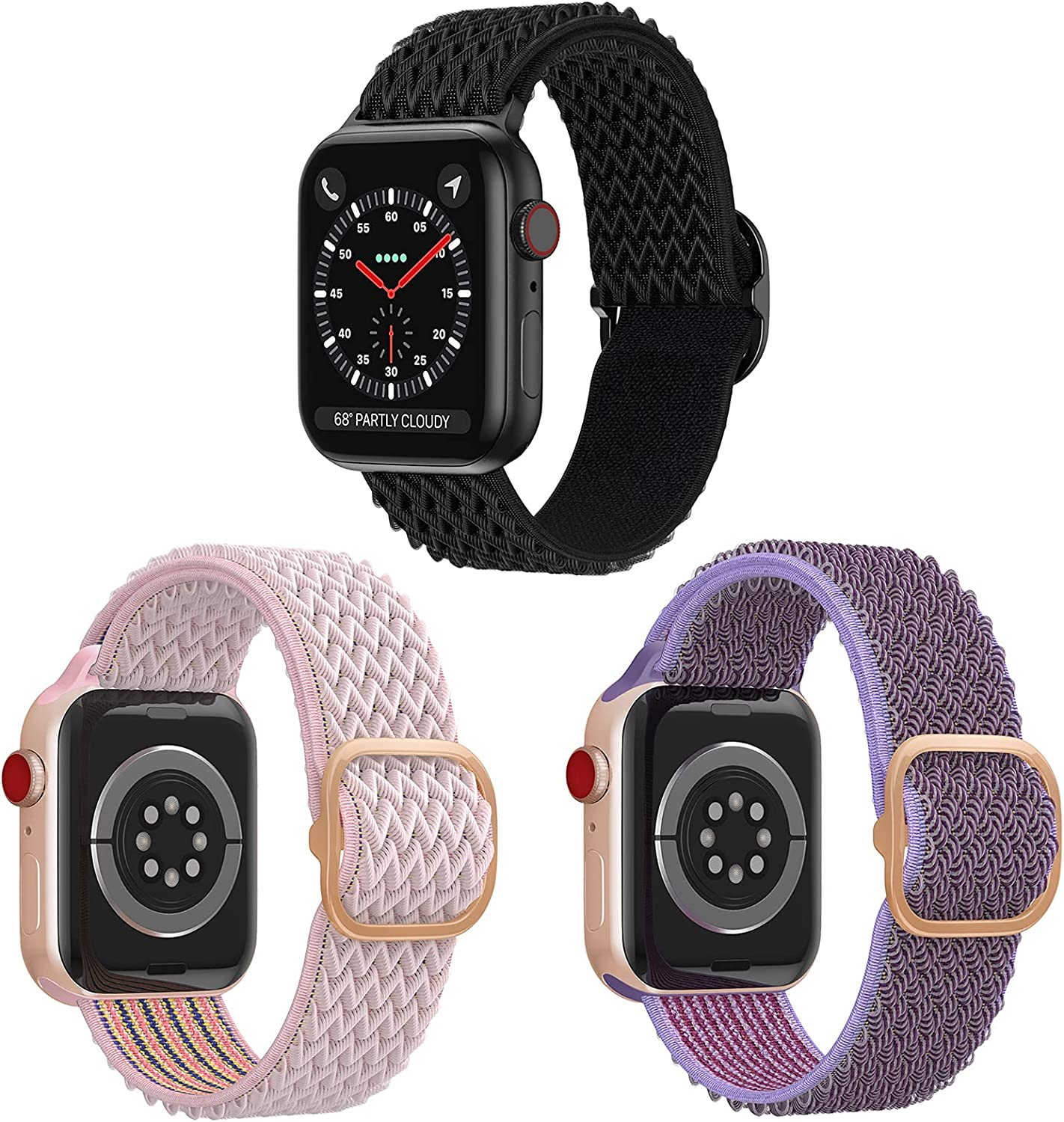 iHillon Nylon Solo Loop Bands Compatible with Apple Watch 44mm 42mm 40mm 38mm, Adjust Stretchy Braided Elastic Sport Velcro Replacement Wristbands for iWatch Series 6/SE/5/4/3/2/1 Women Men