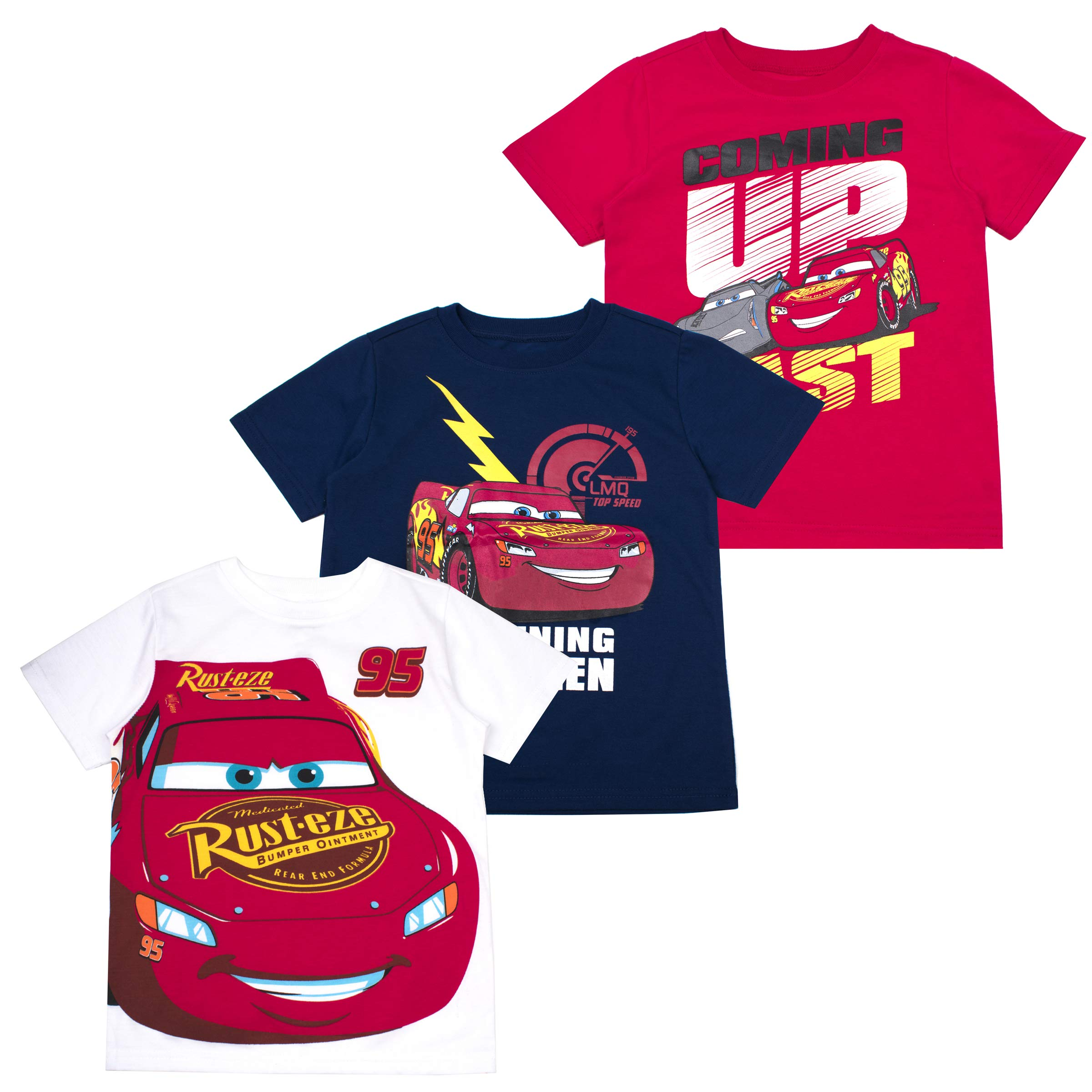 Cars Boys' T-Shirt (Pack of 3) 4 RED
