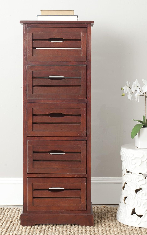 Safavieh American Homes Collection Sarina Cherry 5 Drawer Cabinet Furniture Decor