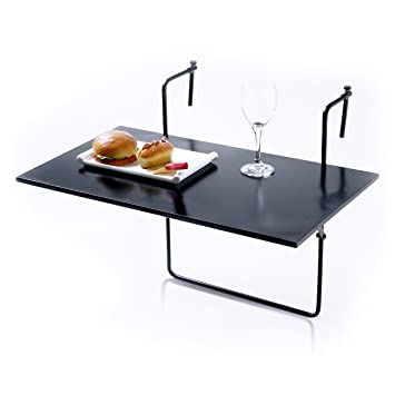 MyGift Folding Balcony Table, Railing Mounted Serving Display Tray, Black