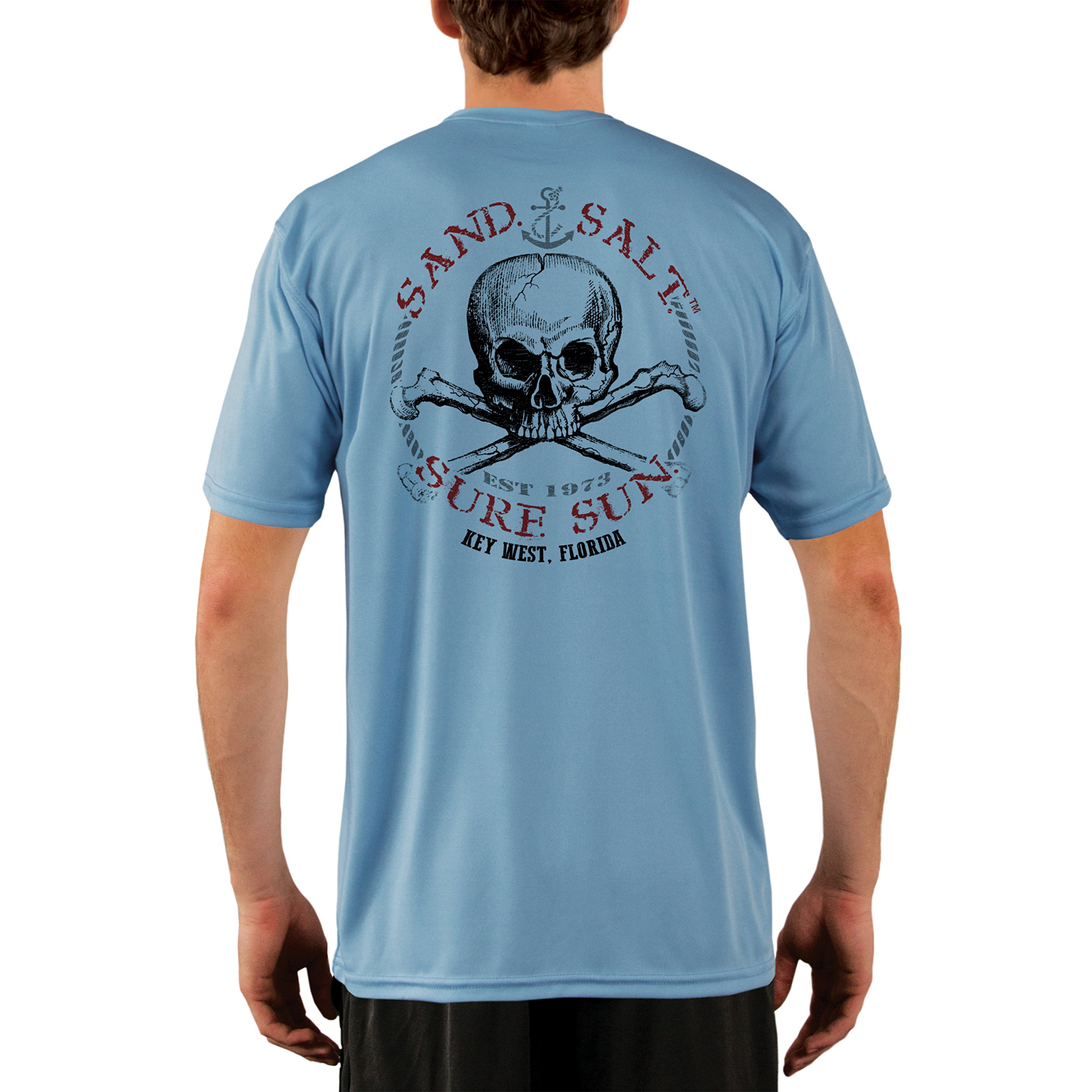 SAND.SALT.SURF.SUN. Key West Skull Men's UPF 50+ Short Sleeve T-Shirt Large Columbia Blue by SAND.SALT.SURF.SUN.