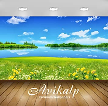 Avikalp Awi3357 Nature Scenery Lake Yellow White Flowers Hd 3d Wallpaper Or Wall Stickers 3 X 2 Ft