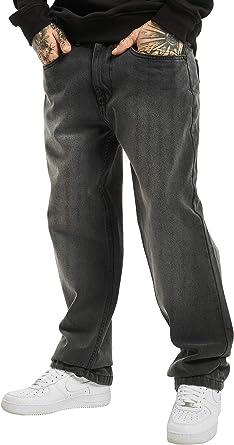 Pantalones Vaqueros De Corte Ancho Para Hombre Color Negro Negro 42w X 34l Amazon Es Ropa Y Accesorios