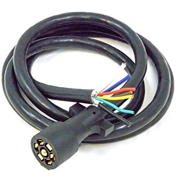 81dH3qkv29L._SY355_ amazon com 7 way rv blade molded plug trailer wire 8' feet 8 wire wiring harness at mifinder.co