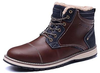 5275bfaaa91069 AX BOXING Winterstiefel Schneestiefel Waterproof Leather Warm Winterschuhe  Stiefelette Outdoor Boots Arbeitsschuhe Arbeitsstiefel Herren Size 41