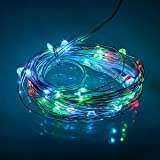 BINZET 5M 50LEDs RGB LED Copper Strings Light 3xAA Battery Powered LED Silver Wire RGB Starry Starry Light Fairy Light Plant Decorative LED Light Strings