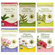 Lifestyle Awareness Organic Tea, Variety Pack w/ Most Popular 6 Flavors (Green Tea, Rooibos, Chamomile, Hibiscus, Rose, Peppermint) 20 Ct / 6 Pack …