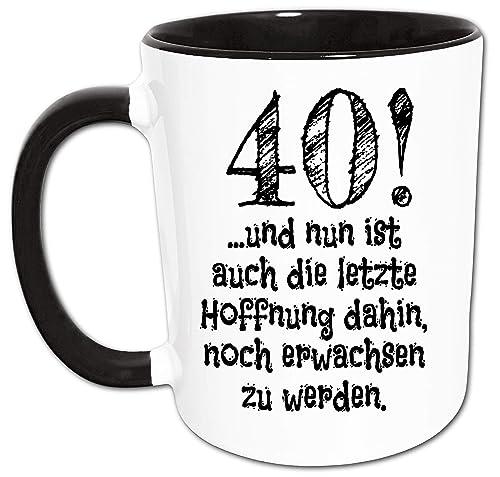 40 Geburtstag Tasse Lustige Geschenke 40 Geburtstag Manner Und Frauen Nicht Erwachsen Spruch Kaffeetasse Schwarz Amazon De Handmade