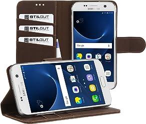StilGut Talis con funzione supporto Custodia protettiva per Samsung Galaxy S7 con tasche per carte. Chiusura a libro Flip Case per Samsung Galaxy S7, caffè