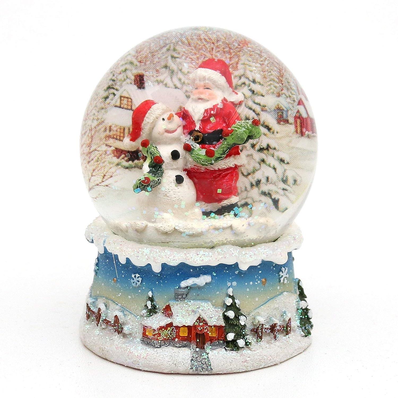 Bellisima palla di vetro con neve. Disegno: Babbo Natale con pupazzo di neve, circa 8,5 x 7 cm/ Ø 6,5 cm Dekohelden24