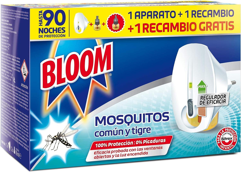 Bloom Doble Eficacia Electrico Líquido para Mosquitos Común y Tigre - 1 Aparato + 2 Recambios