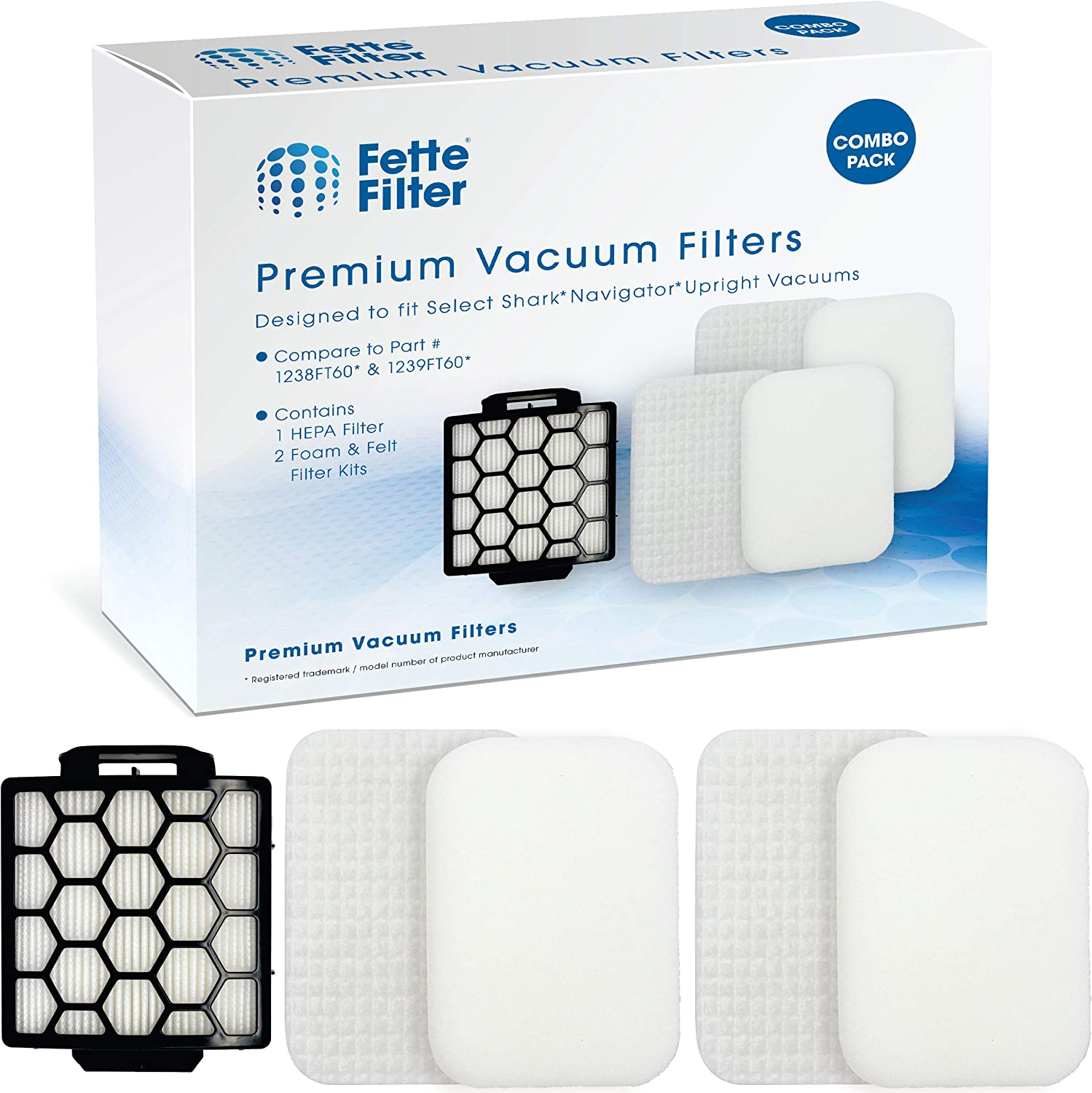Fette Filter 1 HEPA & 2 Foam Filters for Shark Navigator Pet Plus NV150, NV251,NV255 and Zero-M Self-Cleaning Brushroll Pet Pro ZU62,ZU62C,ZU60 Upright Vacuum, Replacement Parts # 1238FT60 & 1239FT60