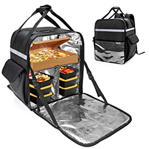 Trunab Insulated Food Delivery Backpack with 2 Side Support Boards and Removable Inner Dividers, Waterproof Cooler Bag Keep Hot/Cold for Bike Delivery, Uber Eats, PostMates, Outdoor Activities - Patented Design