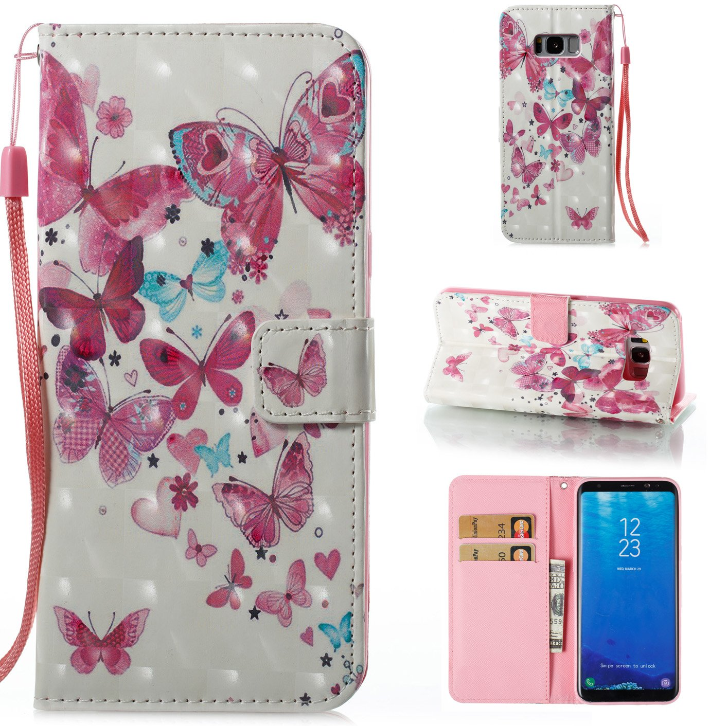 Galaxy S8 Plus 3D Phone Case, Samsung Galaxy S8 Plus Case with Fold Stand Feature, Gostyle Premium PU Leather Wallet Two Flamingos Painted Pattern Magnetic Flip Cover with Card Slots.