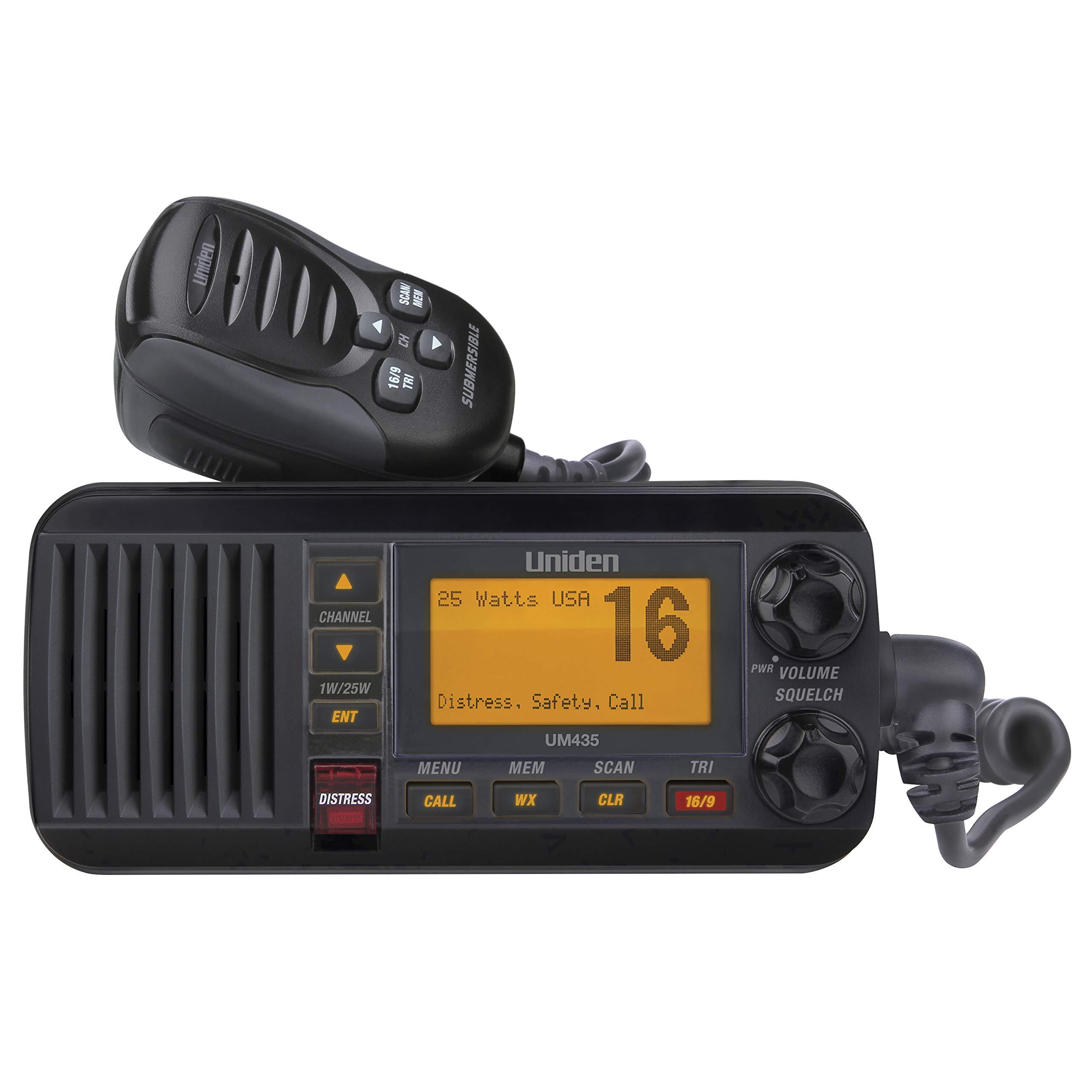 Uniden UM435BK Advanced Fixed Mount VHF Marine Radio, All USA/International/Canadian Marine Channels including new 4-Digit, CDN ''B'' Channels, 1 Watt/25 Watt Power, Waterproof IPX8 Submersible, Black