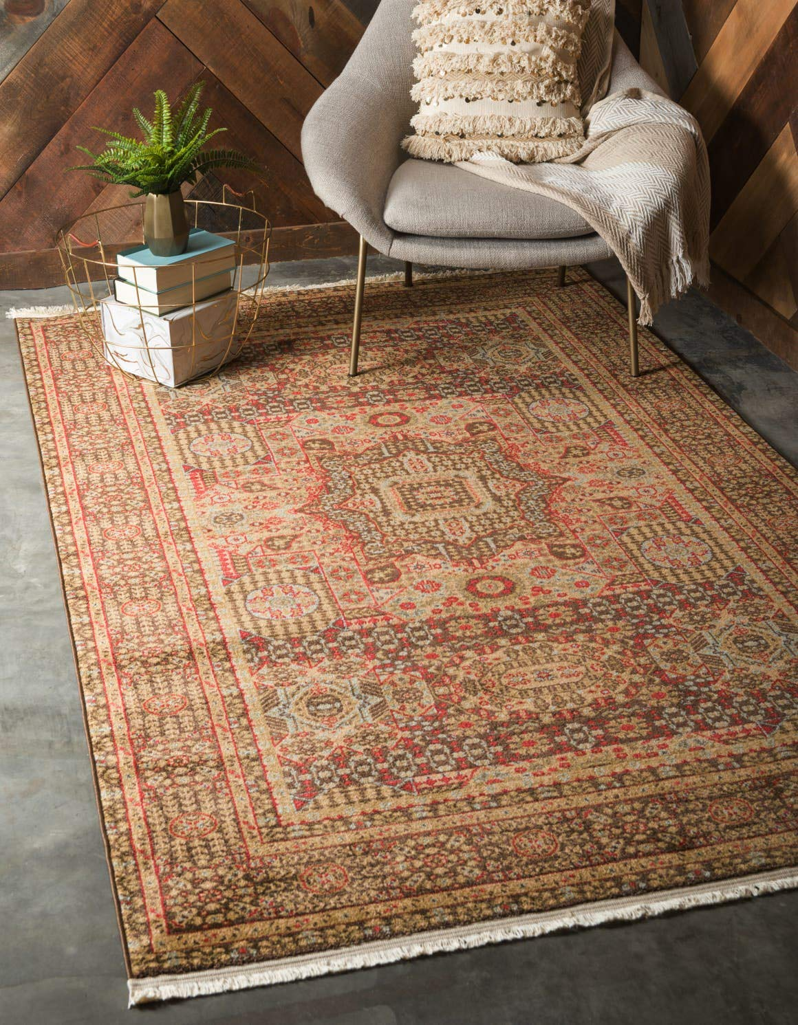 Unique Loom Palace Collection Traditoinal Geometric Classic Brown Area Rug 6 0 x 9 0