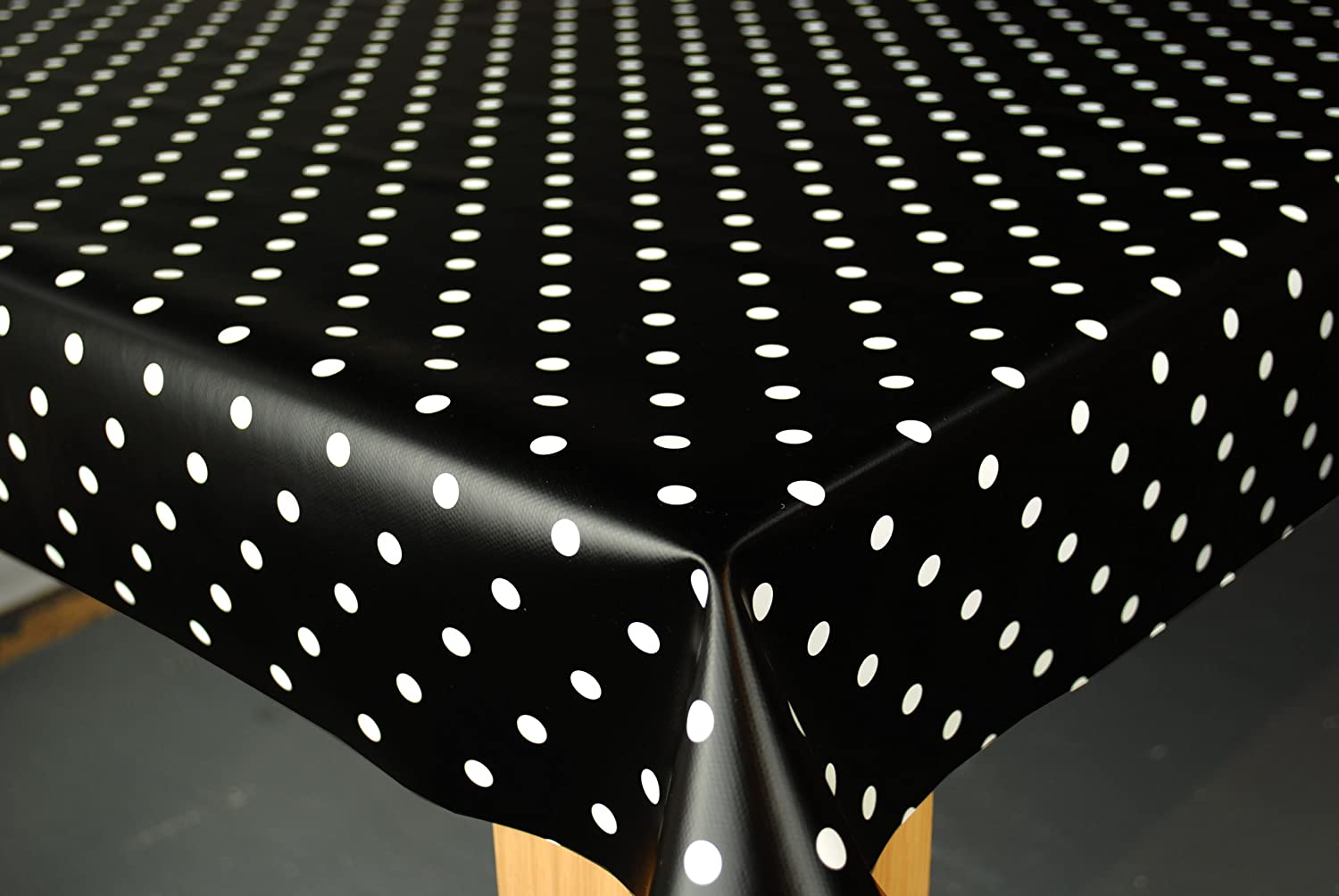 Amazon.com: Wipe Clean Tablecloth Oilcloth Vinyl PVC Black Polka Dot Spot  200cm X 137cm