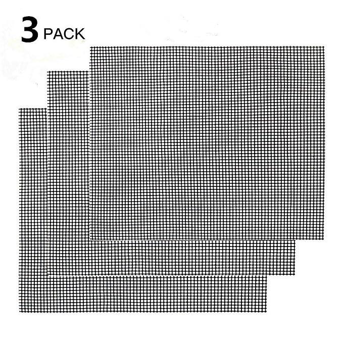 Schwarz, 42 * 36 cm Dauer-Backmatten Nifogo Gitter Grillmatte 3er Set Antihaftbeschichtung LFGB und FDA Zulassung Backmatte Eckig