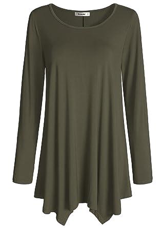 bc292ba99be Esenchel Women's Long Sleeve Tunic Top for Leggings Flared Shirt M Army  Green