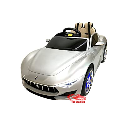 Maserati Gran Turismo Convertible Licensed Ride On Electric Toy Car for Kids 12V Battery Powered LED Lights MP4 RC Parental Remote Controller Leather Seat for Boys and Girls (Silver): Toys & Games