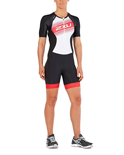 d663517adc6 2XU Womens Compression Sleeved Trisuit, Black/Watermelon Logo Graphic, Small