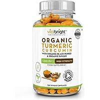 Organic Turmeric Curcumin 1380mg with Organic Black Pepper & Organic Ginger | High Potency | 120 Veg Capsules | Certified Organic, Non GMO, Vegan & Gluten Free