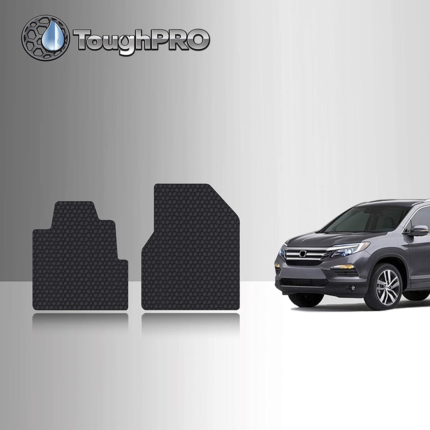 2007 2003 2004 2006 - Black Rubber TOUGHPRO Floor Mat Accessories 1st Heavy Duty - 2nd 2005 All Weather 3rd Row Compatible with Honda Pilot 2008 Made in USA