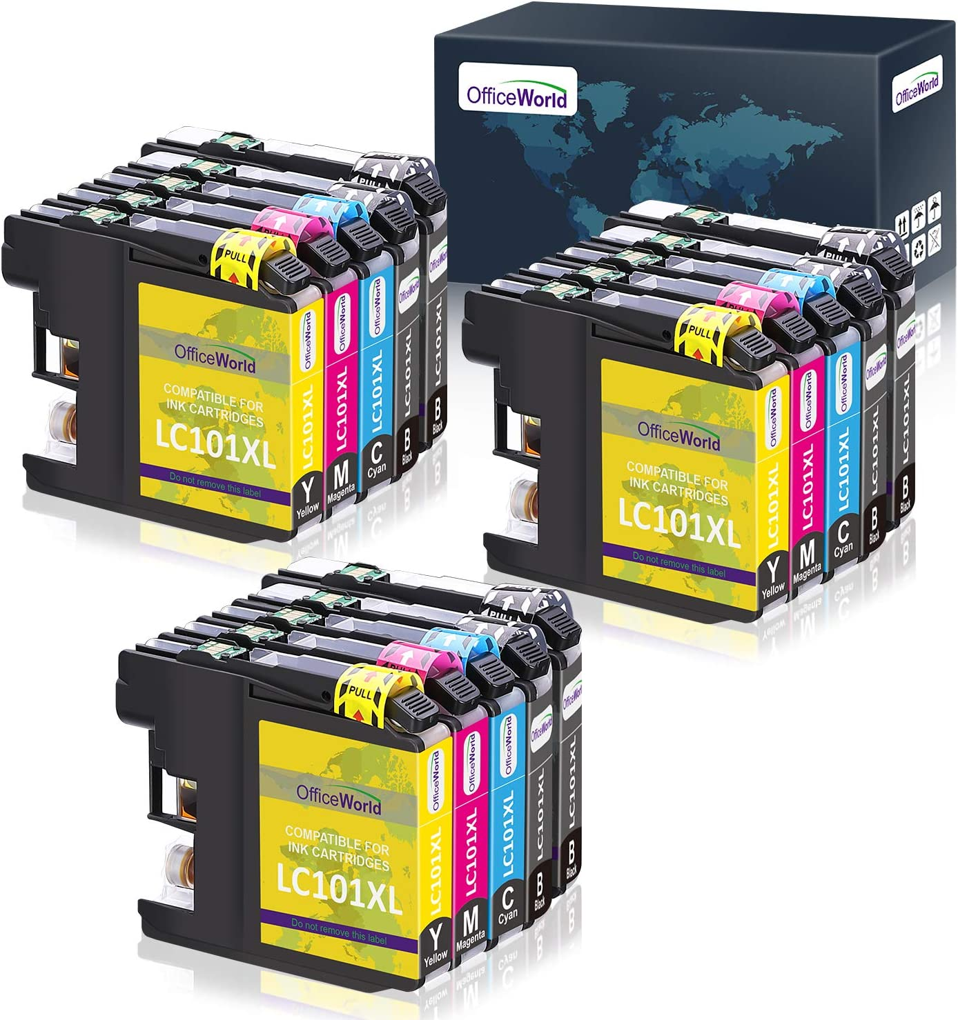OfficeWorld Compatible Ink Cartridges Replacement for Brother LC101 LC101XL LC103 LC103XL, work with Brother MFC-J470DW MFC-J6920DW MFC-J475DW MFC-J450DW 15 Pack (6 Black, 3 Cyan, 3 Magenta, 3 Yellow)