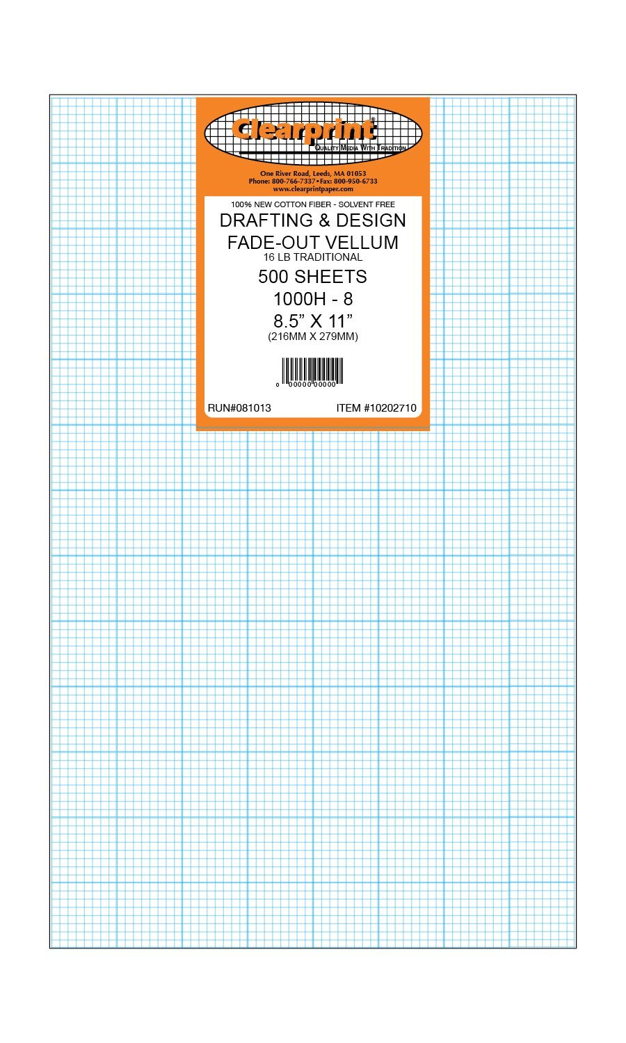 Clearprint 1000H Design Vellum Sheets with Printed Fade-Out 8x8 Grid, 16 Lb., 100% Cotton, 8-1/2 x 11 Inches, 500 Sheets Per Pack, 1 Each (10202710)