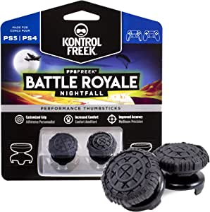 KontrolFreek FPS Freek Battle Royale Nightfall for PlayStation 4 (PS4) and PlayStation 5 (PS5) | Performance Thumbsticks | 2 High-Rise Convex (Domed) | Black