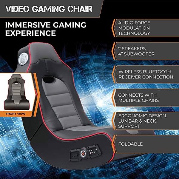 Rocker Surge Wireless Bluetooth 2.1 Sound Rocking Video Gaming Floor Chair, 2 Speakers, Subwoofer, Bonded Faux Leather, Foldable