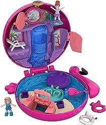 Polly Pocket Coffret Univers La Piscine du Flamant Rose avec 2 Mini-Figurines et Accessoires, Autocollants et 5 Surprises Cachées, Jouet Enfant, édition 2018, FRY38
