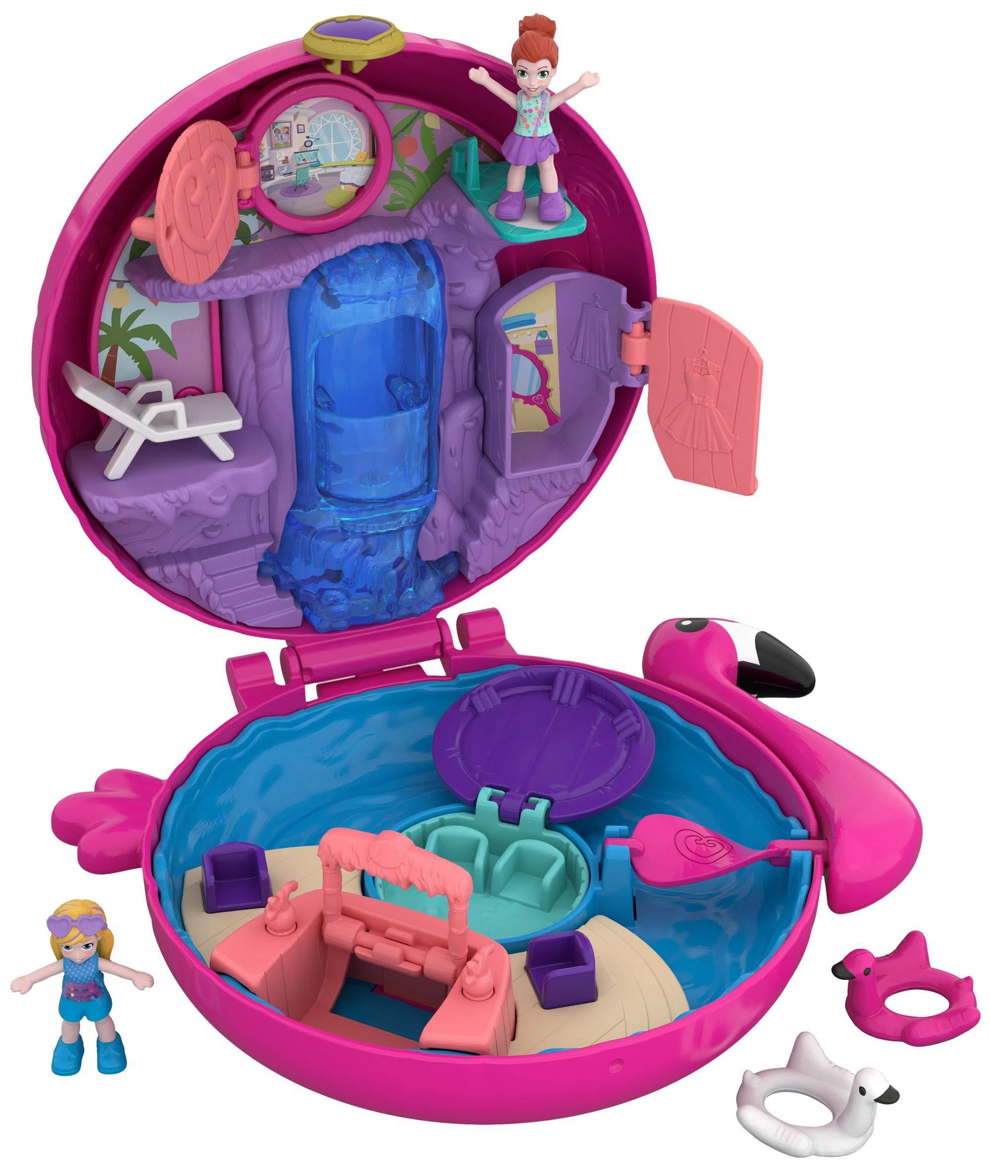 Polly Pocket Coffret Univers La Piscine du Flamant Rose avec 2 Mini-Figurines et Accessoires, Autocollants et 5 Surprises Cachées, Jouet Enfant, édition 2018, FRY38 product image