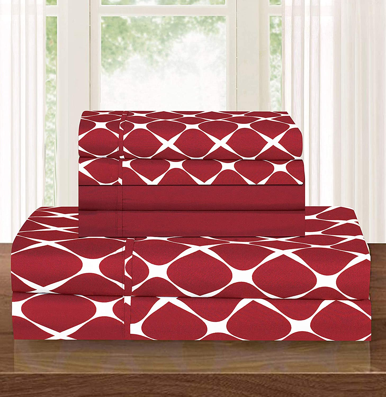 Elegant Comfort Trellis Pattern Red Bed Sheet