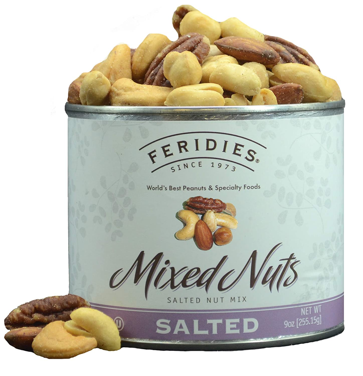 FERIDIES Salted Deluxe Mixed Nuts - 9oz Vacuum Sealed Tin