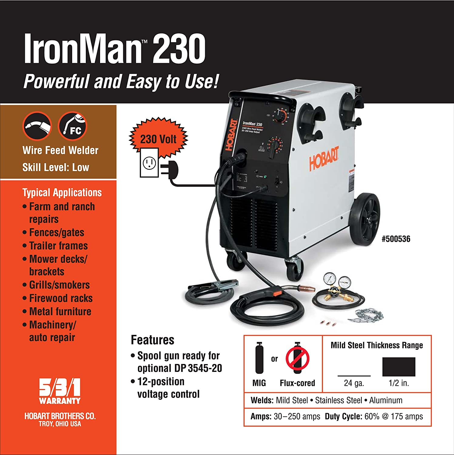 Hobart 500536 Ironman 230 MIG Welder With Wheel Kit & Cylinder Rack ...