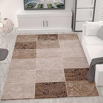 Teppich Wohnzimmer Kurzflor Modern Meliert Kariert Marmor Muster ...