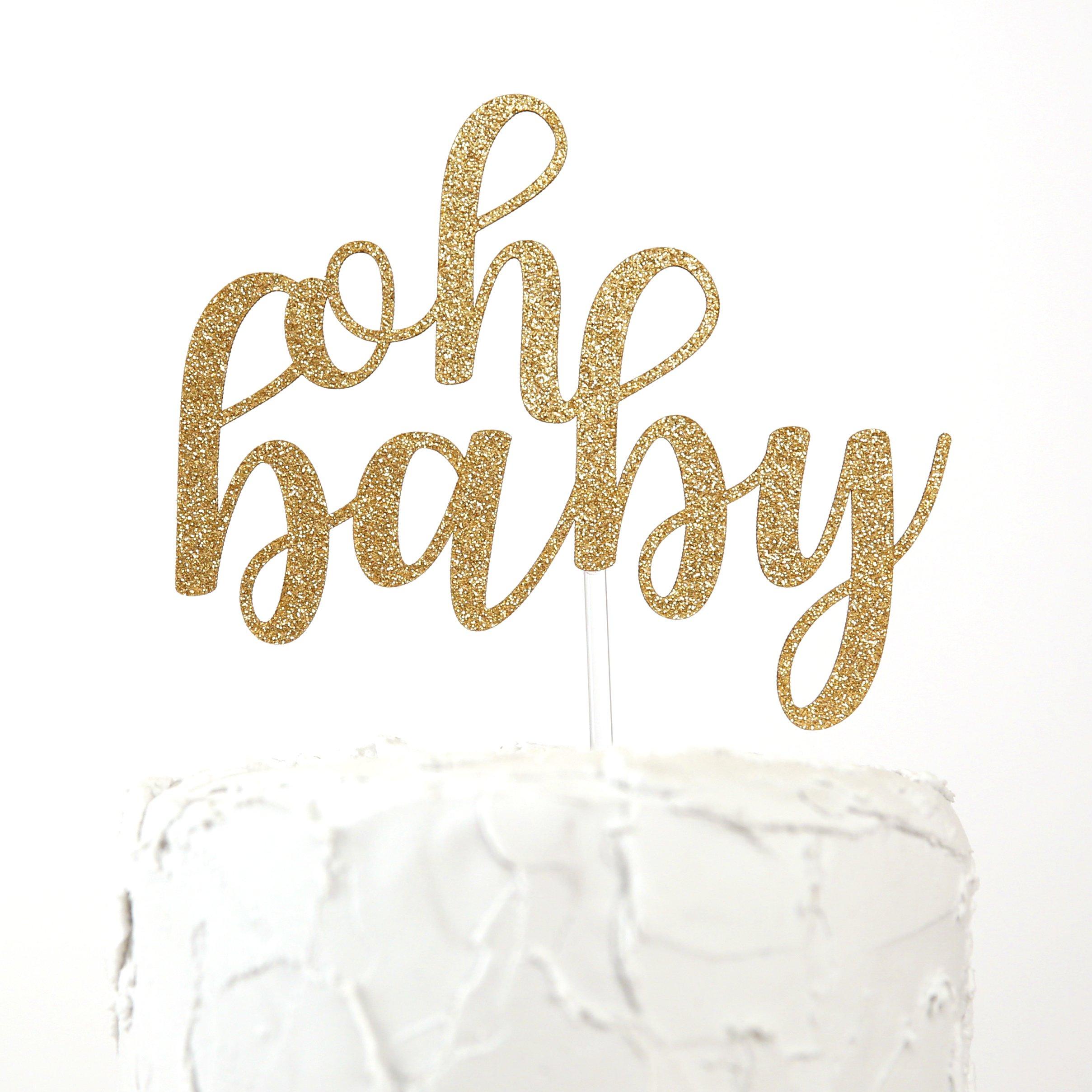 NANASUKO Baby Shower Cake Topper - oh baby - Premium quality Made in USA
