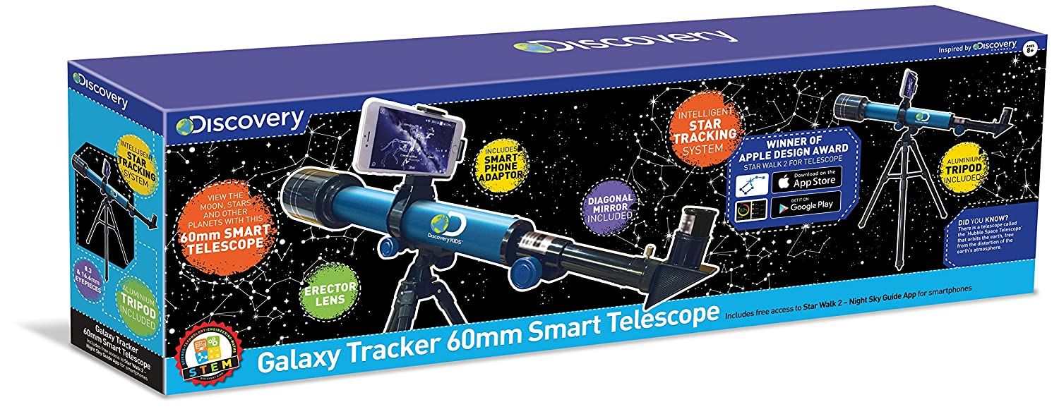 Discovery Channel TDK30 Discovery Galaxy Tracker Smart telescopio, 60 mm Trends UK