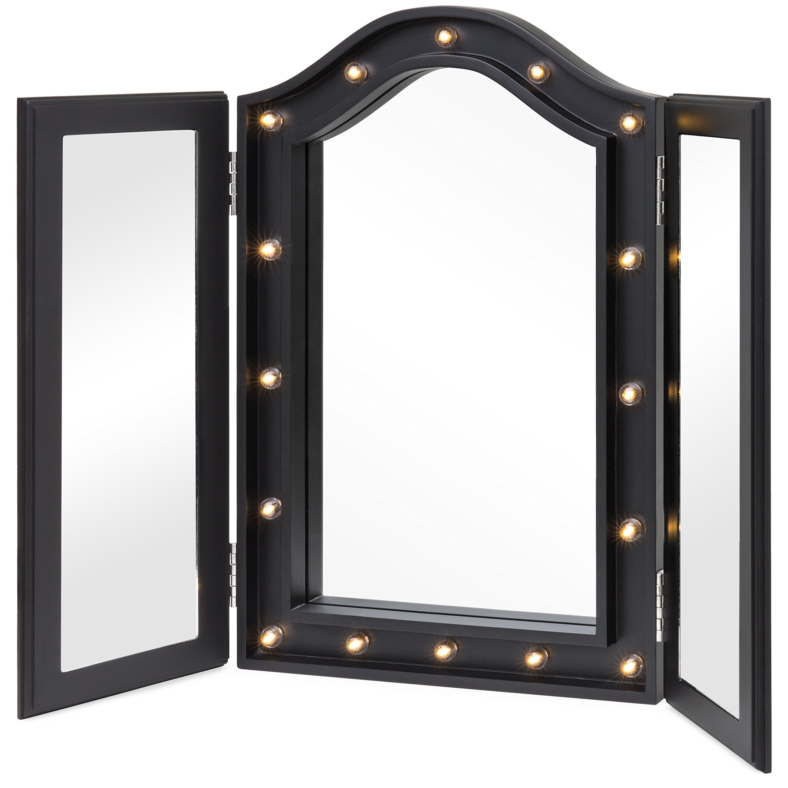 Best Choice Products Lighted Tabletop Tri-Fold Vanity Mirror Decor Accent w/ 16 LED Lights, Velvet-Lined Back - Black