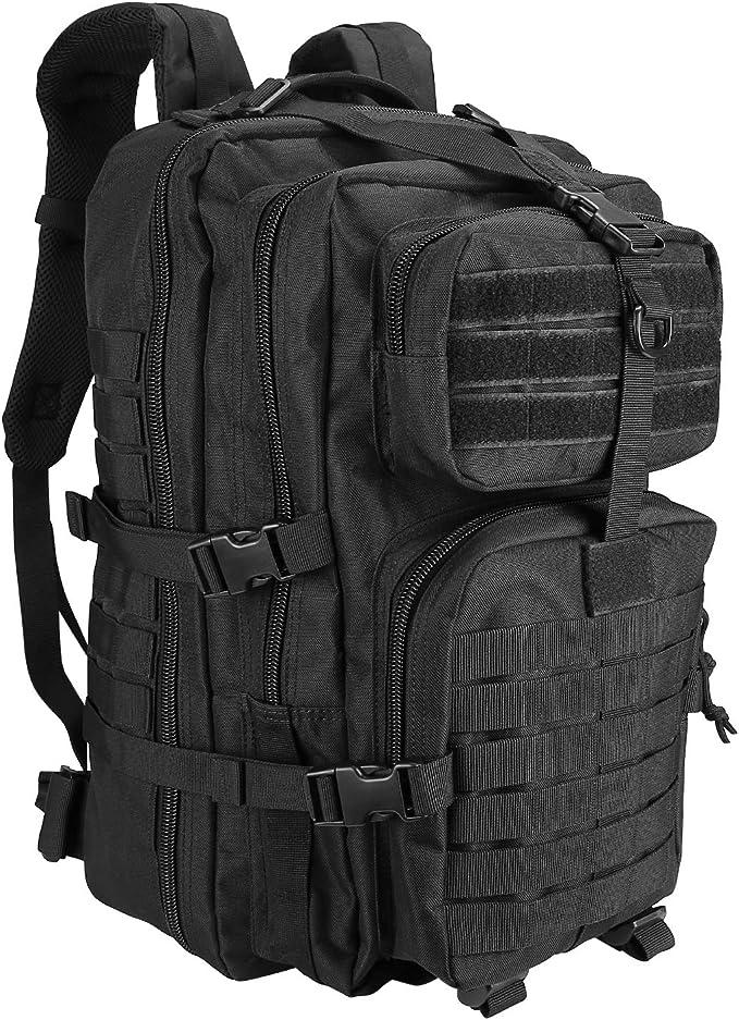 Procase Mochila T/áctica Militar 30L Negro Viaje Multifuncional Backpack Resistente de Tela Oxford con Muchos Bolsillos para Deportes al Aire Libre como Senderismo Caza Acampanada Trekking