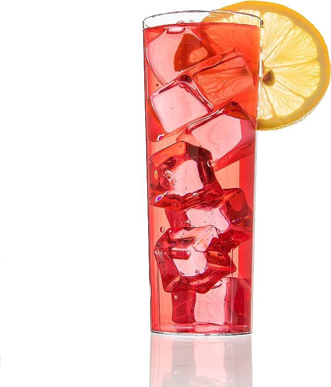 12 vasos de plástico vasos, 10 oz vaso de tubo de cristal o de alto Collins copas de cristal (Juego de 12) – o vasos de Whisky vasos altos.
