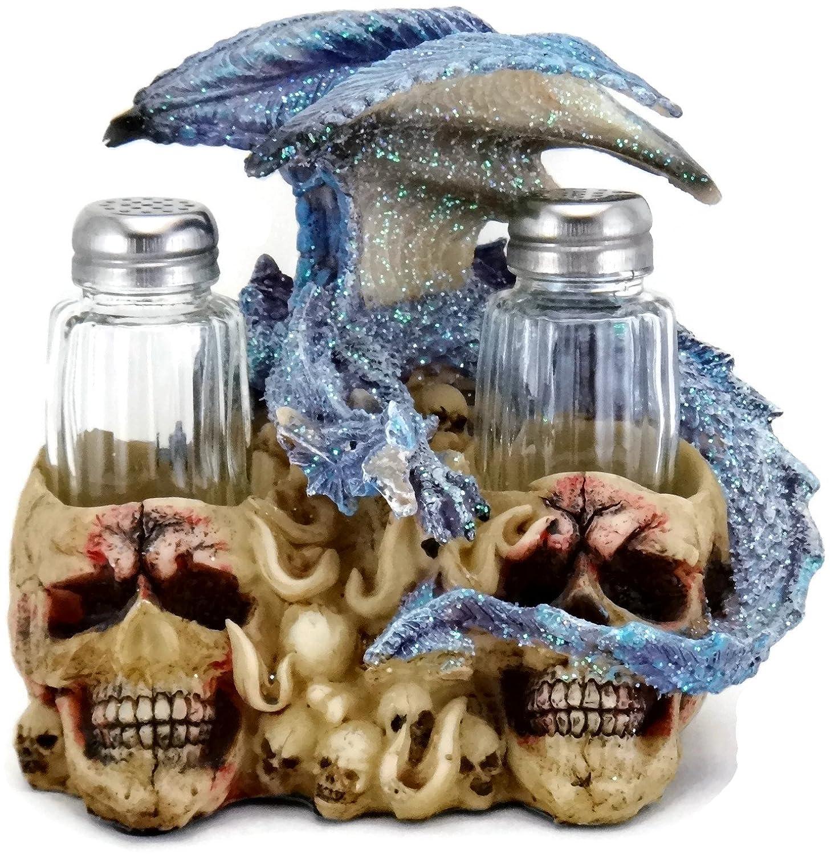 3d Blue Dragon On Skulls Salt Pepper Shakers Table Set