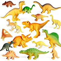 Coogam 18PCS Realistic Dinosaur Toy Play Set Assorted Plastic Small Dino Figures Cake Toppers Birthday Party Favors…
