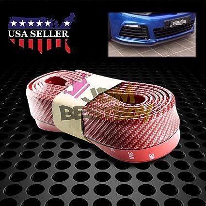8FT Blue PU Carbon Fiber Bumper Lip Splitter Chin Spoiler Body Trim Universal