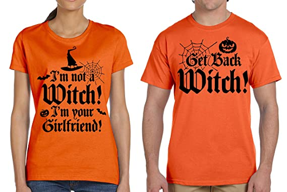ef5ebd10 Funny Halloween Costume Orange Shirts Witch Girlfriend Halloween Costume Party  T-Shirt Couple Matching Theme. Roll over image to zoom in. Silk Road Tees